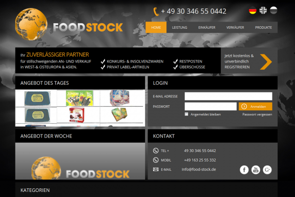 Responsive Webdesign Food-Stock: Startseite
