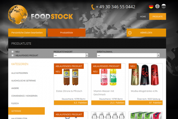 Responsive Webdesign Food-Stock: Produktauswahl