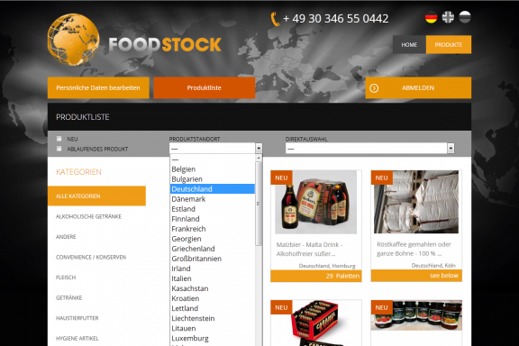 Responsive Webdesign Food-Stock: Produktsuche und -filter